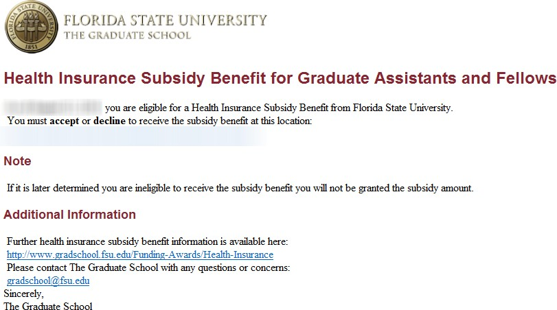 Health Insurance Subsidy Benefit | The Graduate School
