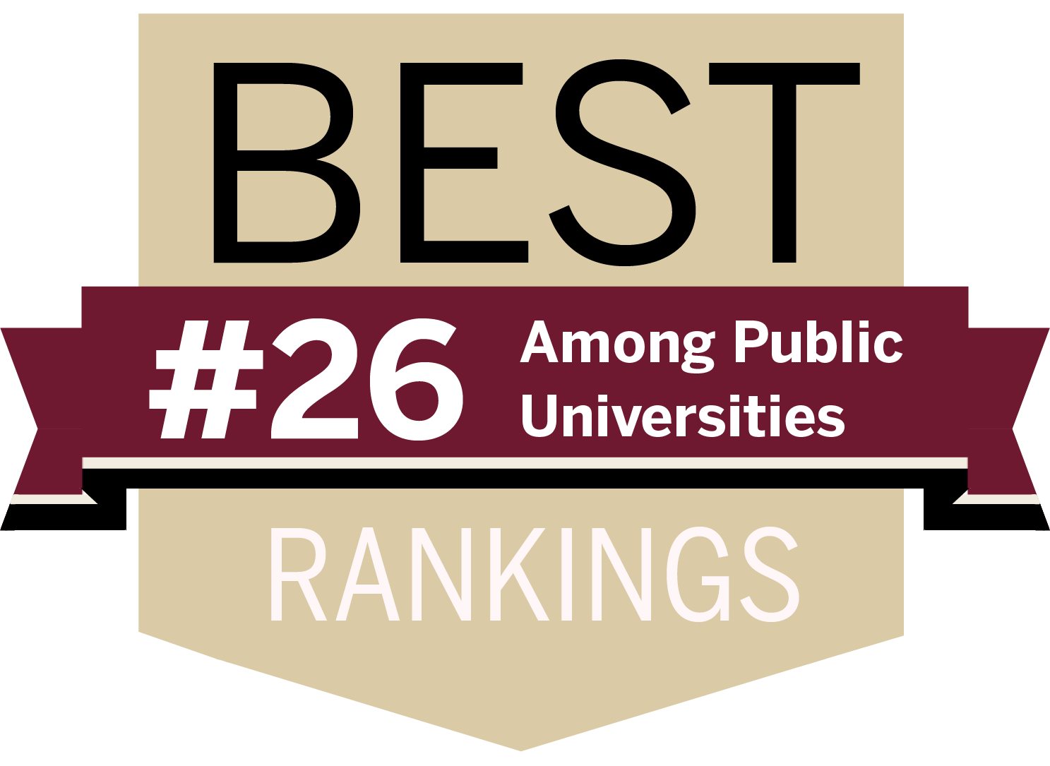 "rankings icon with text that states ""Best Rankings, #26 among Public Universities"""